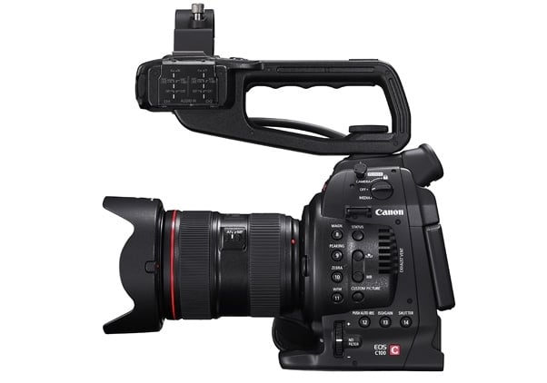 The Canon C100, a pro video camera that takes SLR lenses