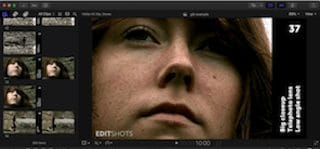 Video editing program screen featuring big closeup of young woman